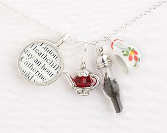 Tea at Wuthering Heights Necklace – Literary Necklace – Book Lover Gift – Book Jewelry – Literary Gifts - Emily Bronte – Tea and Books