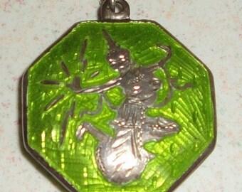 Silver 925 Green Enamel Painted Ninja Design Necklace 16 Inch