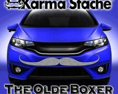 """48"""" Car Mustache Vinyl Decal Sticker - Style; Olde Boxer - Color; Gray  -  Karma Stache: Your #1 Source for Car Mustaches!"""
