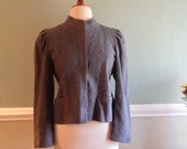 30s Grey Structured sz Med Embroidered Wool Suit Jacket