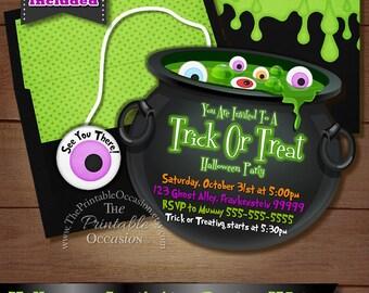 Halloween Party Invitation, Trick or Treating Invitation, Kids Halloween Party Invitation, Printable Invitation, DIY You Print Custom