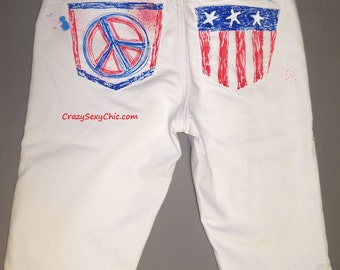 Hand-Painted White Flag Shorts size Small Medium Women's Peace