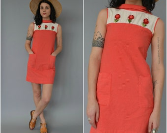 1960s red and white polka dot wiggle dress