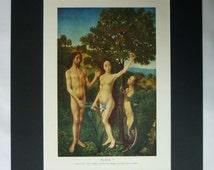 1950s Vintage Hugo van der Goes Print of Adam and Eve in the Garden of Eden, Available Framed, Bible Art, Netherlandish Gift, Original Sin