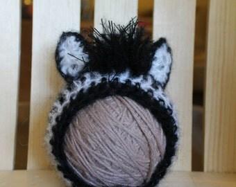 Mohair Zebra Newborn and Baby Bonnet photography prop