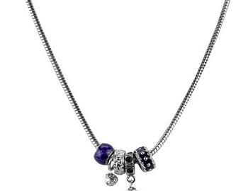East Carolina University (ECU) Pirates Silver Necklace made with an ECU Pirates Charm and Purple Beads