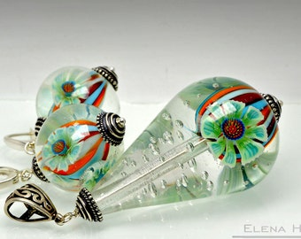 "Jewelry set ""The Drops of Life"", lampwork"