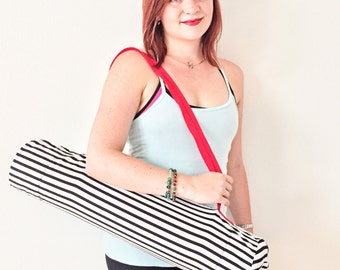Yoga mat bag- Yoga bag- Yoga gift for her- Stripe yoga bag- yoga gift for mother- Zen gift- Pilates mat bag- Yoga gift- Yoga gift for wife