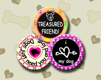 I LOVE DOGS - Digital Collage Sheet 1 &1.5 inch round images for bottle caps, pendants, round bezels, etc. Instant Download #234.
