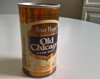 Vintage Peter Hand Old Chicago Dark Beer Flat Top Can --- Retro Charming Tavern Pub Bar Home Decor --- American Beverage Oktoberfest Curio