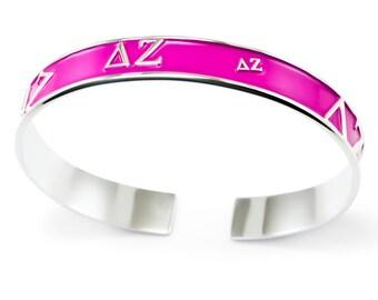 Delta Zeta Sorority Bangle Cuff Bracelet (Pink) // Sorority Jewelry // Sorority Gifts // Big and Little // Sorority Letters // Greek Life