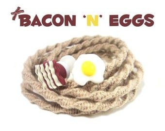 Bacon Earbuds | Wrapped Kawaii Bacon & Eggs Tangle Free DCI Earphones | iPhone, Android Kitsch Breakfast Headphones | Guys Foodie Tech Gift