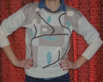Vintage Womens Beige Blue and Brown Pakoram Sweater
