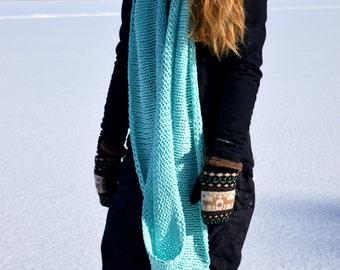 Free shipping – Original scarf 100% cotton hand knitted, wraps up three times, oversized knit, off white or turquoise, infinity scarf