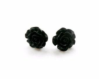 Black Rose Earrings, Flower studs, Halloween Earrings, gothic jewellery, halloween costume witch vampire goth earrings paga  lolita fashion