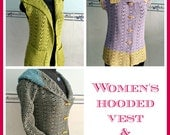 Women's Hooded Vest & Sweater pdf crochet pattern ( size 2XS - 2XL )