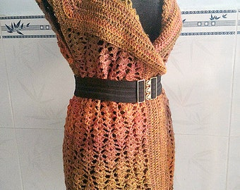 Crocheted Sand Waves long vest - free worldwide shipping