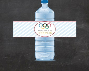 Custom Olympics Water Bottle Wrappers, Olympic Games Water Bottle Labels, Olympic Rings, Olympics Party - Birthday