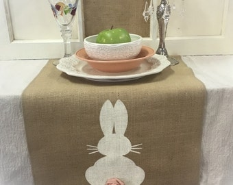 "Burlap Table Runner 12"", 14"", or 15"" wide with a Bunny on each end - Easter runner Holiday decorating"
