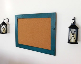 Extra Large FRAMED BULLETIN BOARD - Office Cork Board - Distressed Wood - Shown in Jade - 30 x 40 - Many Color Choices