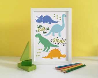 Dinosaur Wall Art dinosaur poster | etsy