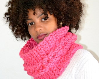 Pink Single Cable Cowl/ Faux Cable Cowl/ Crochet One Cable Cowl/ Pink Neck Warmer/ Gift for Her/ Circle Cowl/ Cowl Scarf/ Pink Cowl Scarf