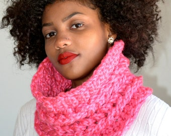 Double Cable Faux Cowl/ Crochet Faux Cable Cowl/ Pink Neck Warmer/ Two Cable Cowl Scarf/ Crochet Cowl Scarf/ Pink Cowl Scarf/ Gift idea