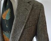 Vintage 1960s 3 Roll 2 Tweed Blazer by Alexander Julian Bespoke Size 42