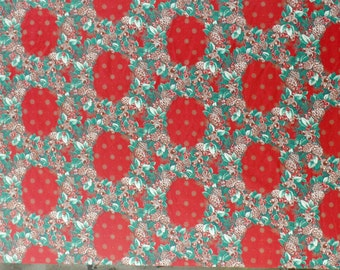 Vintage 80's Christmas Holiday Wreath Tablecloth Fabric 58x84