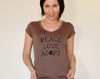 Dog / Cat Rescue Shirt in brown - Peace Love Adopt - ON SALE