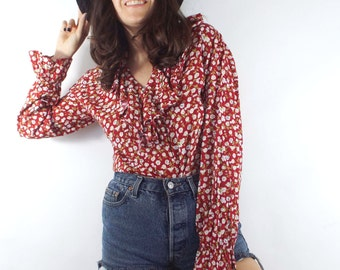 Vintage 90s Red Ruffled Floral Print Blouse