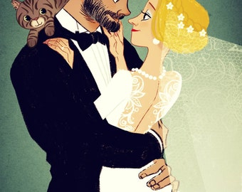 Custom Portrait_Wedding Caricature_Custom Couples Portrait_Cartoon Family_digital_ Personalized Portraits -art