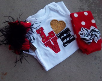 Valentine's Day Outfit - LOVE - Zebra Love Bodysuit - Gold and Red Glitter - Diva Leg Warmers - Baby Girl