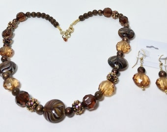 Necklace Jewelry, Brown Gold Topaz Chunky Beads Necklace Earrings Set, Gold Browns Statement Necklace Earrings Set