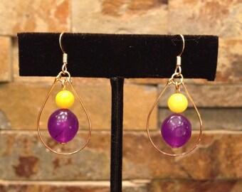 Purple and Gold Yellow Hoop Earrings LSU