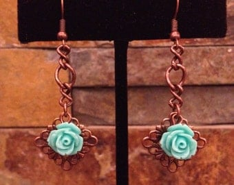 Turquoise Blue Flower Antiqued Copper Filigree Filagree Drop Earrings Copper and Turquoise