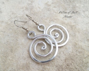 Aluminum earrings handmade Aluminum jewelry Silver earrings Spiral Hoop earrings  Stainless steel ear wires Lightweight 10 year anniversary