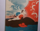 Sheet music- On The Beach With You -VINTAGE PAPER- 1931