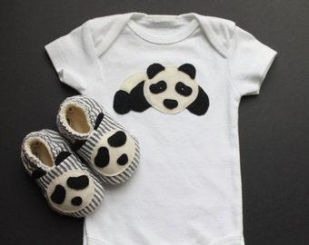 Baby Panda Layette, Panda Onesie, Bodysuit, t-shirt, panda shoes, panda baby shoes, soft shoes, crib shoes, newborn outfit, newborn gift