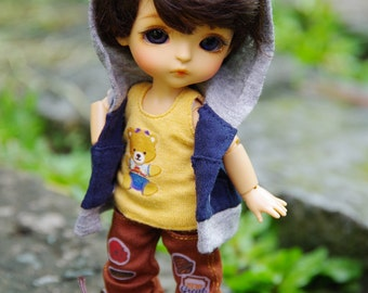 Lati Yellow/Pukifee - Hoodie Jacket Coat Sleeveless With Hat - GreyBlue Color