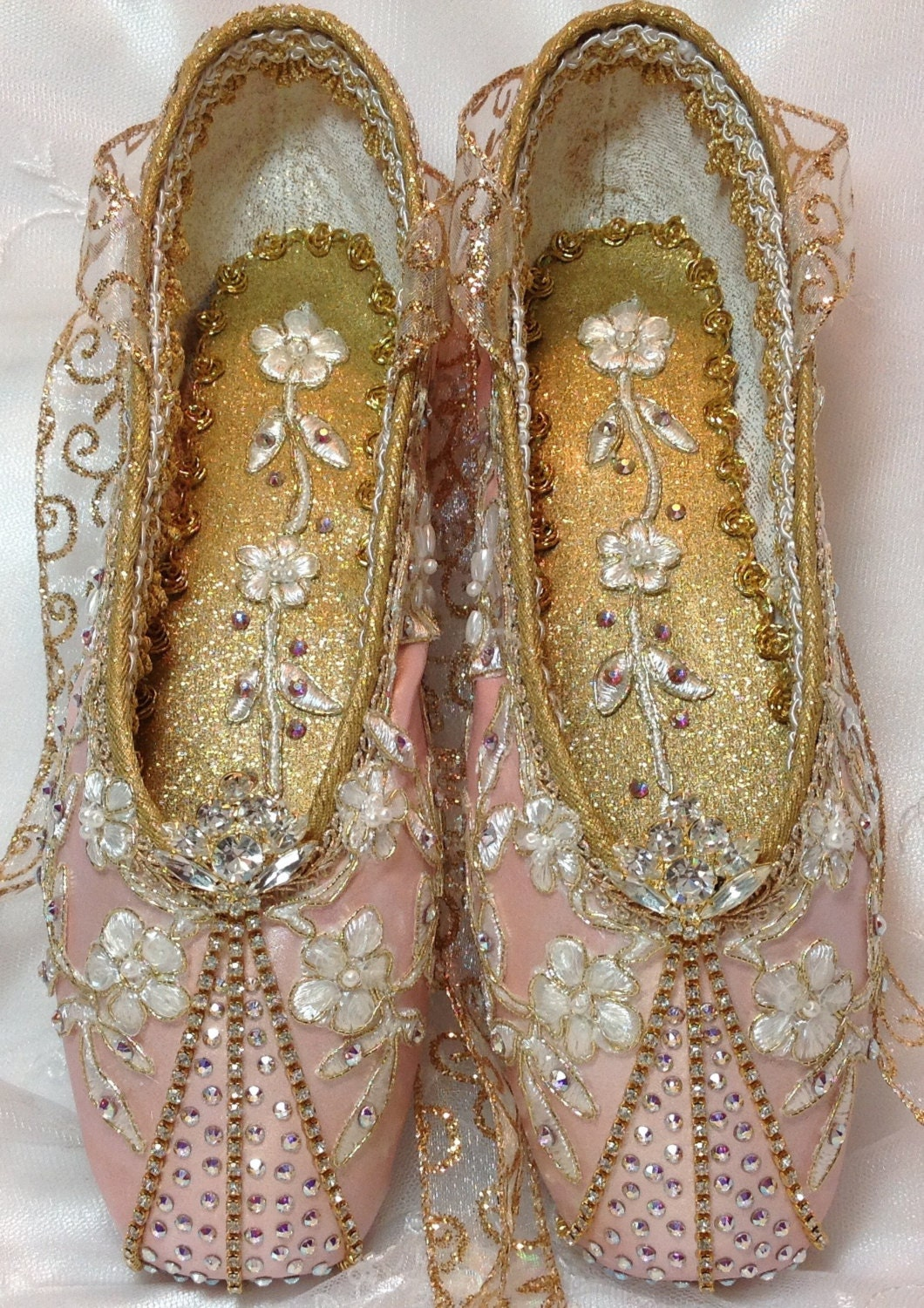 Exquisite Pair Of Pink And Gold Decorated Pointe Shoes With