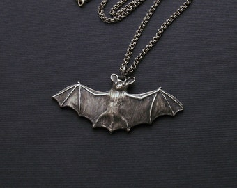 Flying bat necklace, bat pendant, silver charm pendant, bat jewelry, silver jewelry, bat charm, bat charm, flying bat, goth jewelry