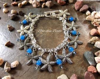 Blue Jade Starfish Bracelet - Starfish Bracelet, Jade Bracelet, Charm Bracelets, Starfish, Starfish Jewelry, Beach Jewelry, Ocean, Beach