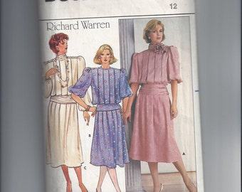 Butterick 3209 Pattern for Misses' Top & Skirt by Richard Warren, Size 12, From 1985, Vintage Pattern, Loose Fitting Top, Home Sewing