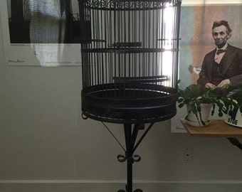 Wrought Iron Bird Cage - Metal Bird House - Vintage Bird Stand - Large Bird Cage attached Stand ~ Industrial Bird Cage ~ PICK Up ONLY VA