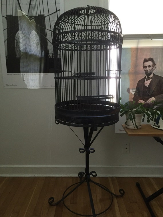 items similar to wrought iron bird cage metal bird house vintage bird stand large bird. Black Bedroom Furniture Sets. Home Design Ideas