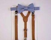 Boys Bow Tie, Boys Blue Bow Tie Tan Leather Suspenders, Wedding Bow Tie, Boy Clothing, Ring Bearer Outfit, Baby Bow Tie, Boys First Birthday