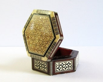 RESERVED - Vintage Wood Box with Mother of Pearl Inlay - Hexagon Box Decorative Mosaic Box - Marquetry Box - Small Jewelry Box - Office Desk