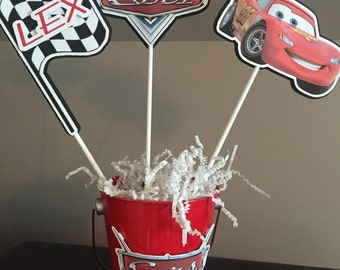 Race Car / Racing / Driver / Cars Centerpiece set - Set of 3 PLUS pail