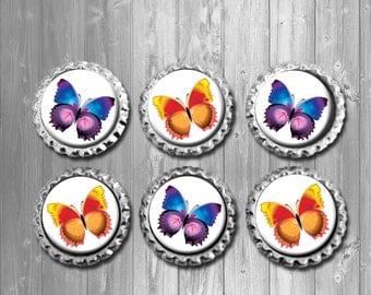 Butterfly Orange Yellow Purple Blue Bottle Cap Magnets - Set of 6